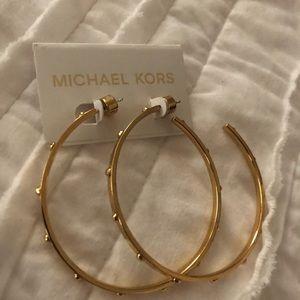 Michael Kors Gold Studded Hoop Earrings